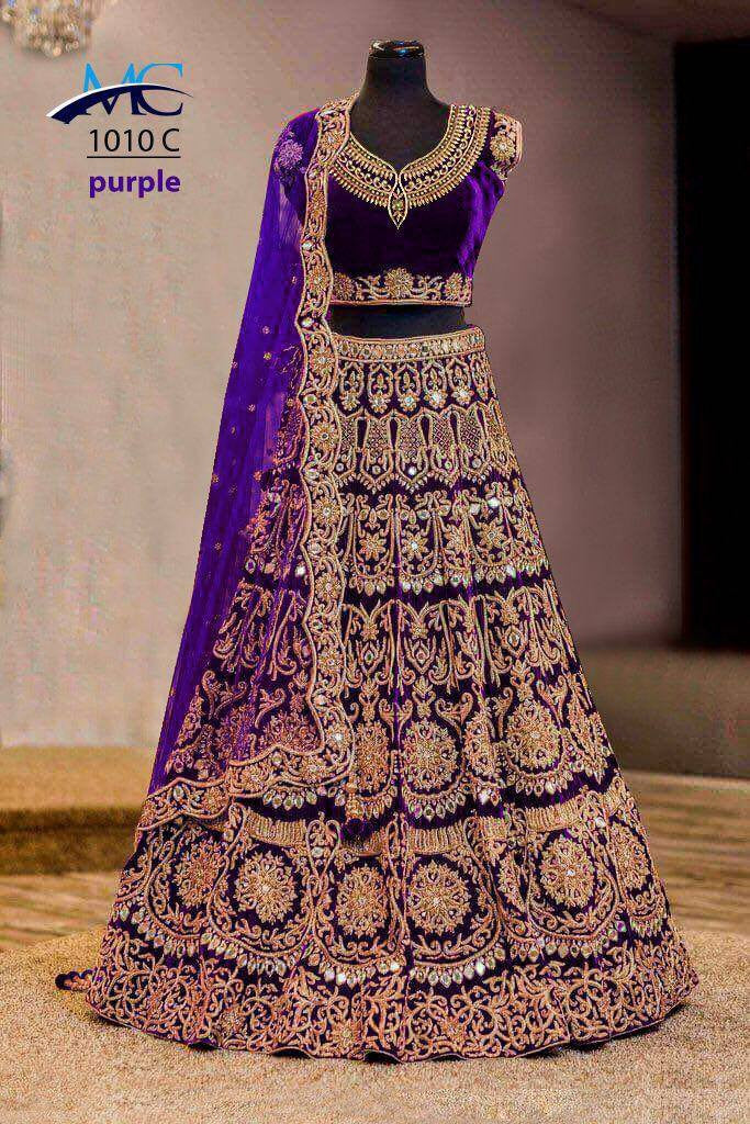 Purple Designer Heavy Work Bridal Lehengacholi