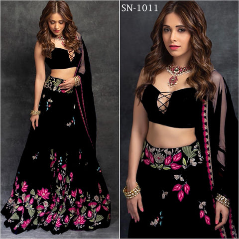 Black Embroidery Taffeta Silk Party Lehenga Online Shopping With Price