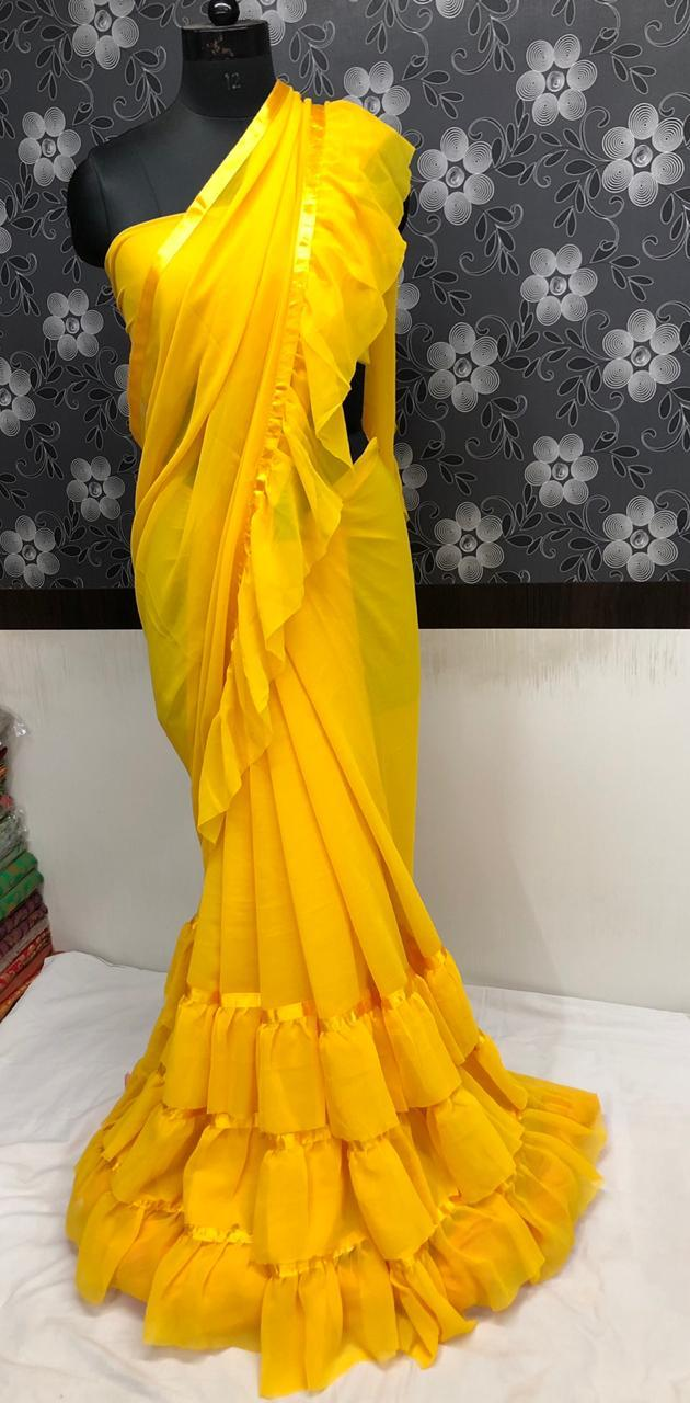 Yellow Georgette Fancy Party Wear Ruffle Design Saree Online