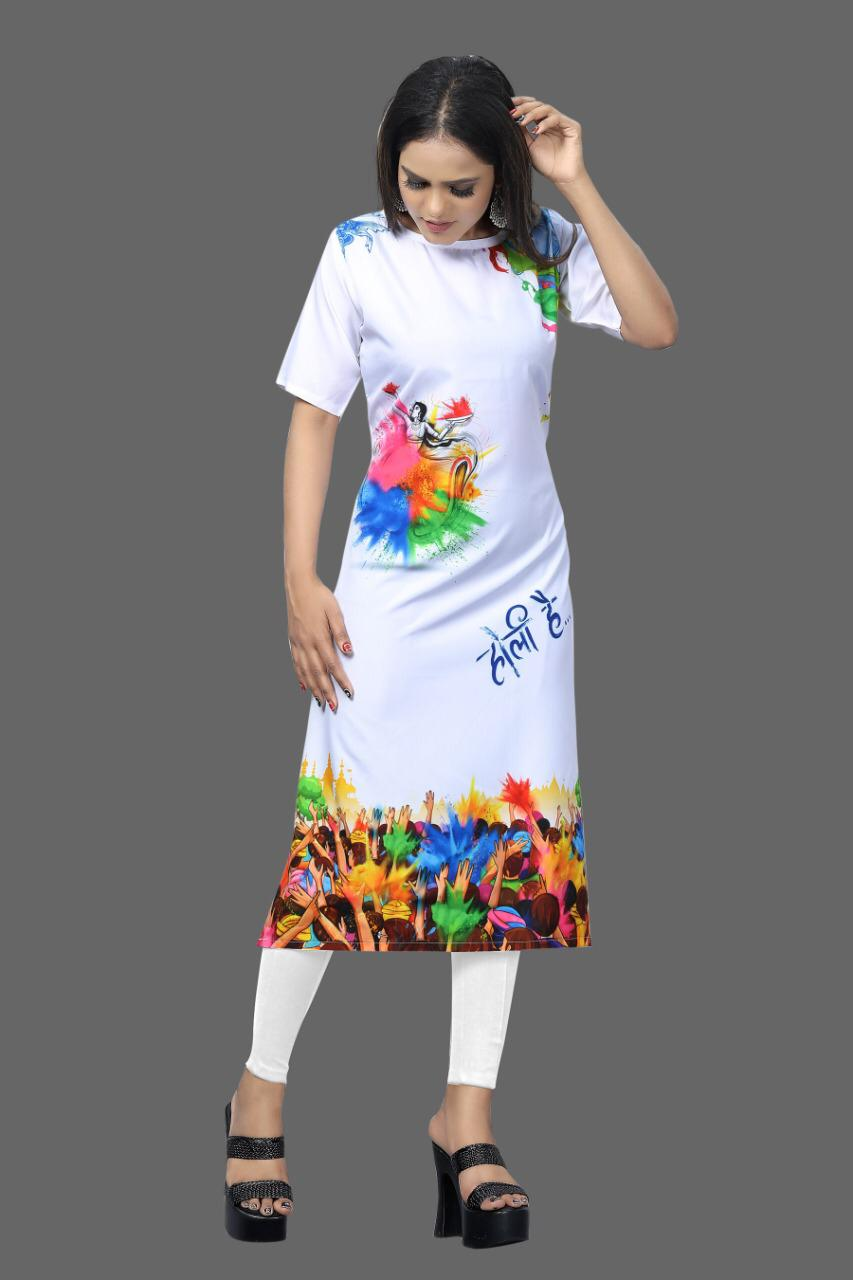 Buy White Crepe Digital Print Holi Kurtis Design Online