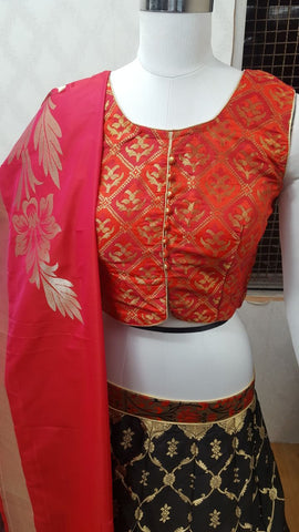 Red And Black Banarsi Silk Lengha Blouse Online