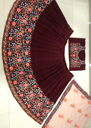 Maroon Velvet Embroidered Party Lehenga Choli  Suits