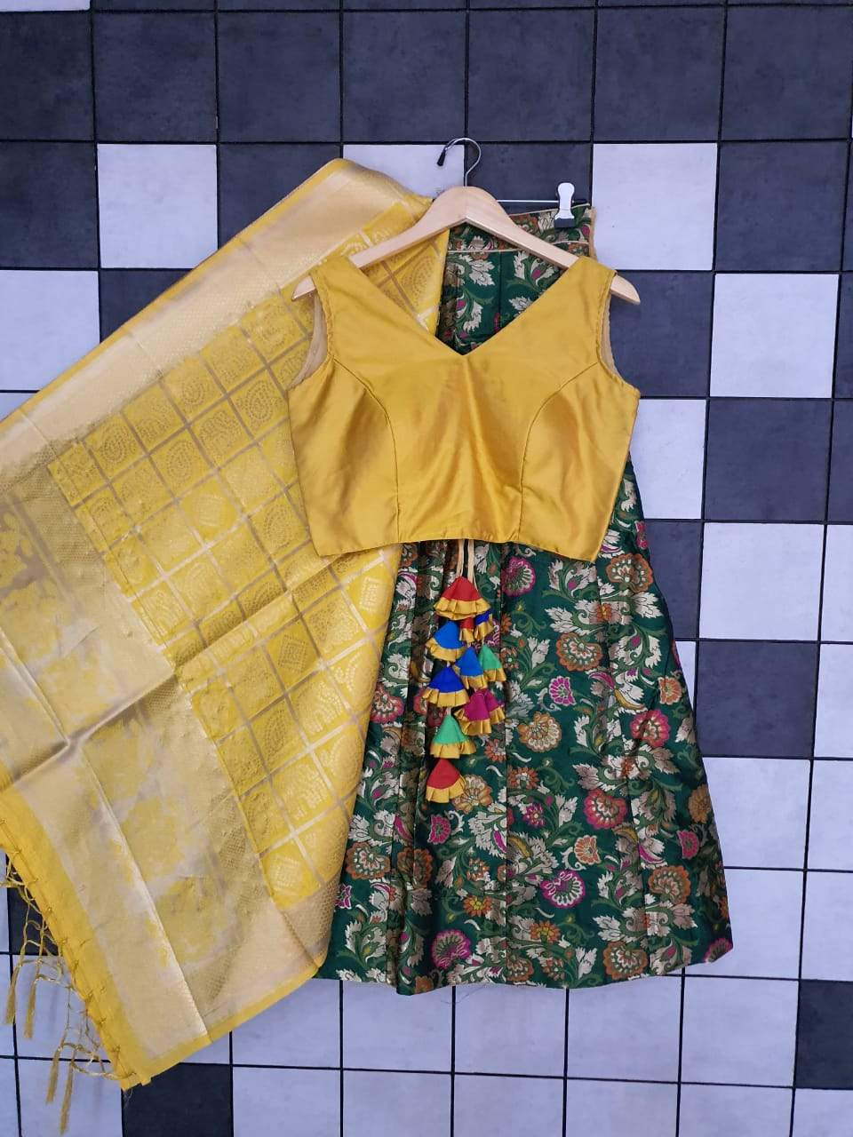 Dark Green Banarasi with Sleeveless Blouse Lehenga Buy Online