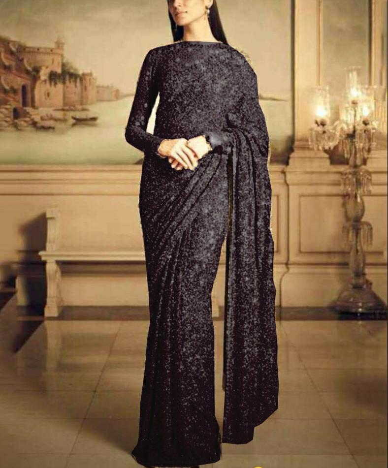 Black Georgette Sequins Beautiful Saree Online Shopping