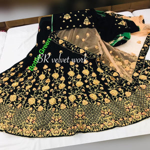 Bottle Green Velvet Embroidered Wedding Lehenga Online Shopping With Price