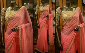 Peach Party Wear Georgette Bollywood Style Sarees ,Indian Dresses - 1