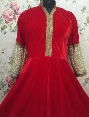 Hot Red Velvet Long Indian Bollywood Dresses ,Indian Dresses - 3