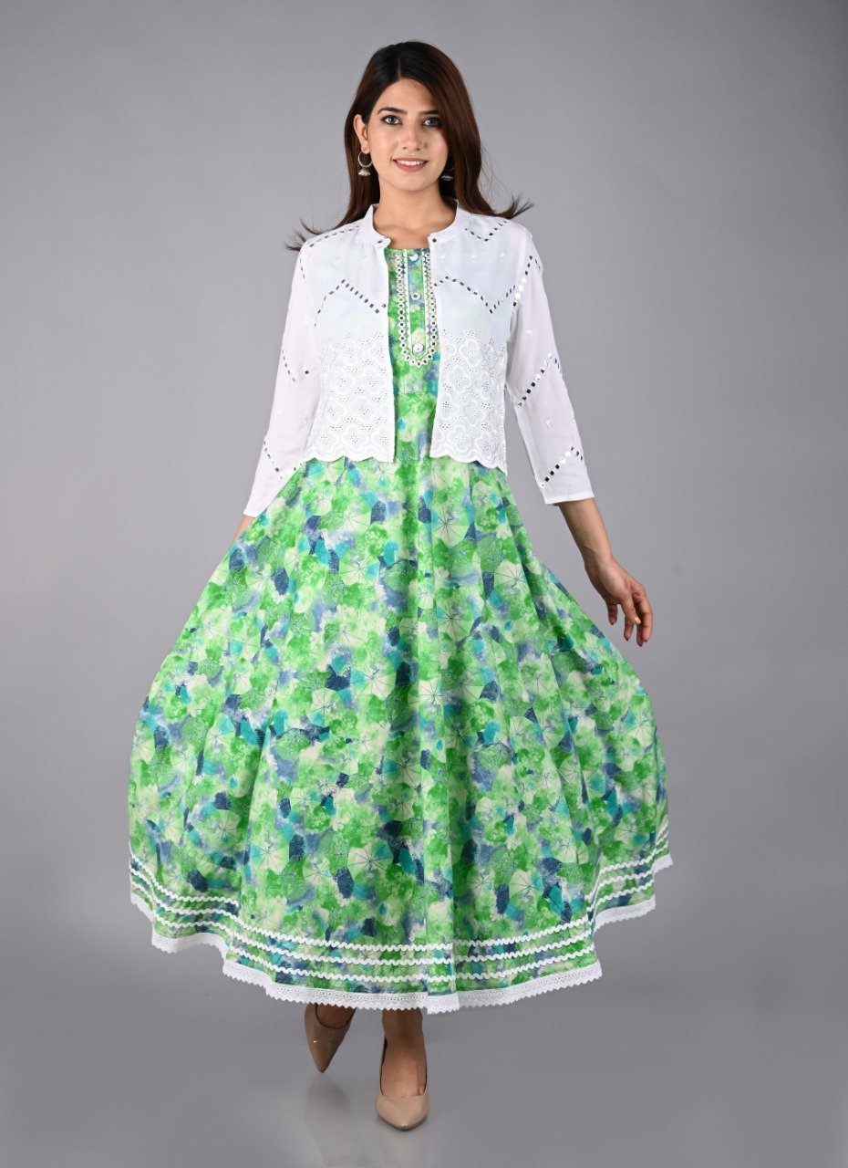Green Rayon Cotton Printed Gown With Foil Mirror On Neckline