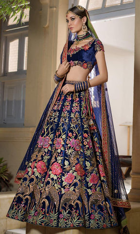17c2d7e4ad5 Navy Blue Velvet Latest Wedding Wear Lehenga Online Shopping India ...