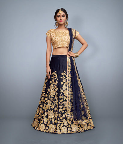 Navy Blue Indian Dresses Bollywood Replica Lehenga Online