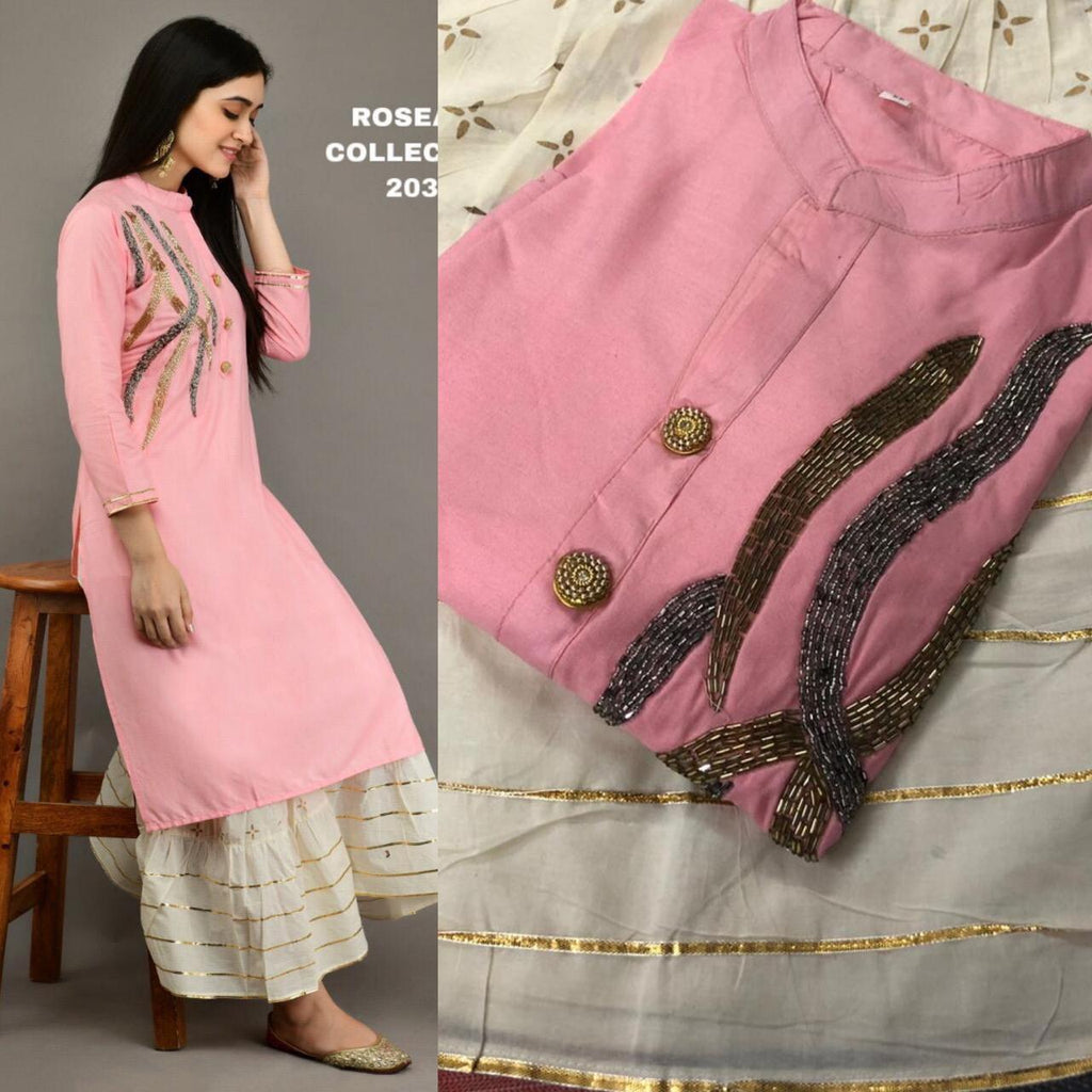 Dusty Rose Embroidered Kurtis Sharara Fashion Indian Suits Online