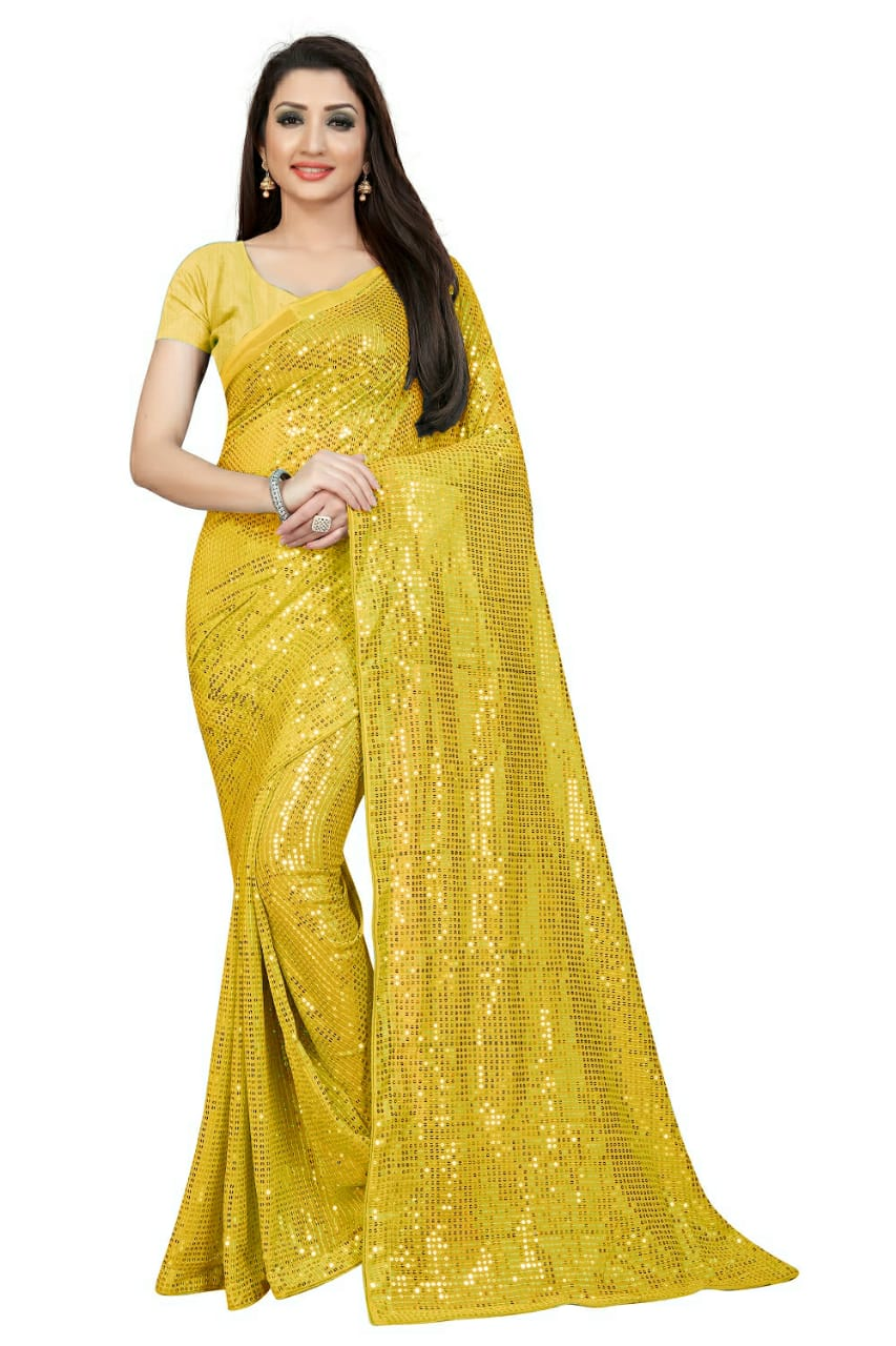 Yellow New Georgette Sequins Online Shopping Sarees With Price