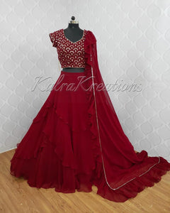 Beautiful Maroon 3 Layered Georgette New Designs Lehenga Choli