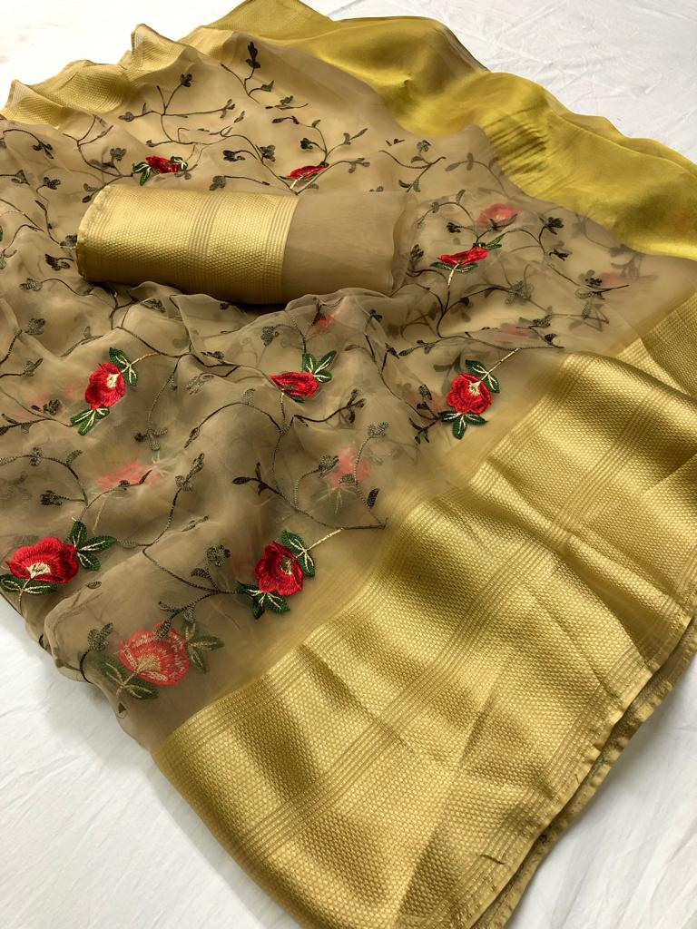 Dark Beige Embroidered Organza Beautiful Party Saree Online