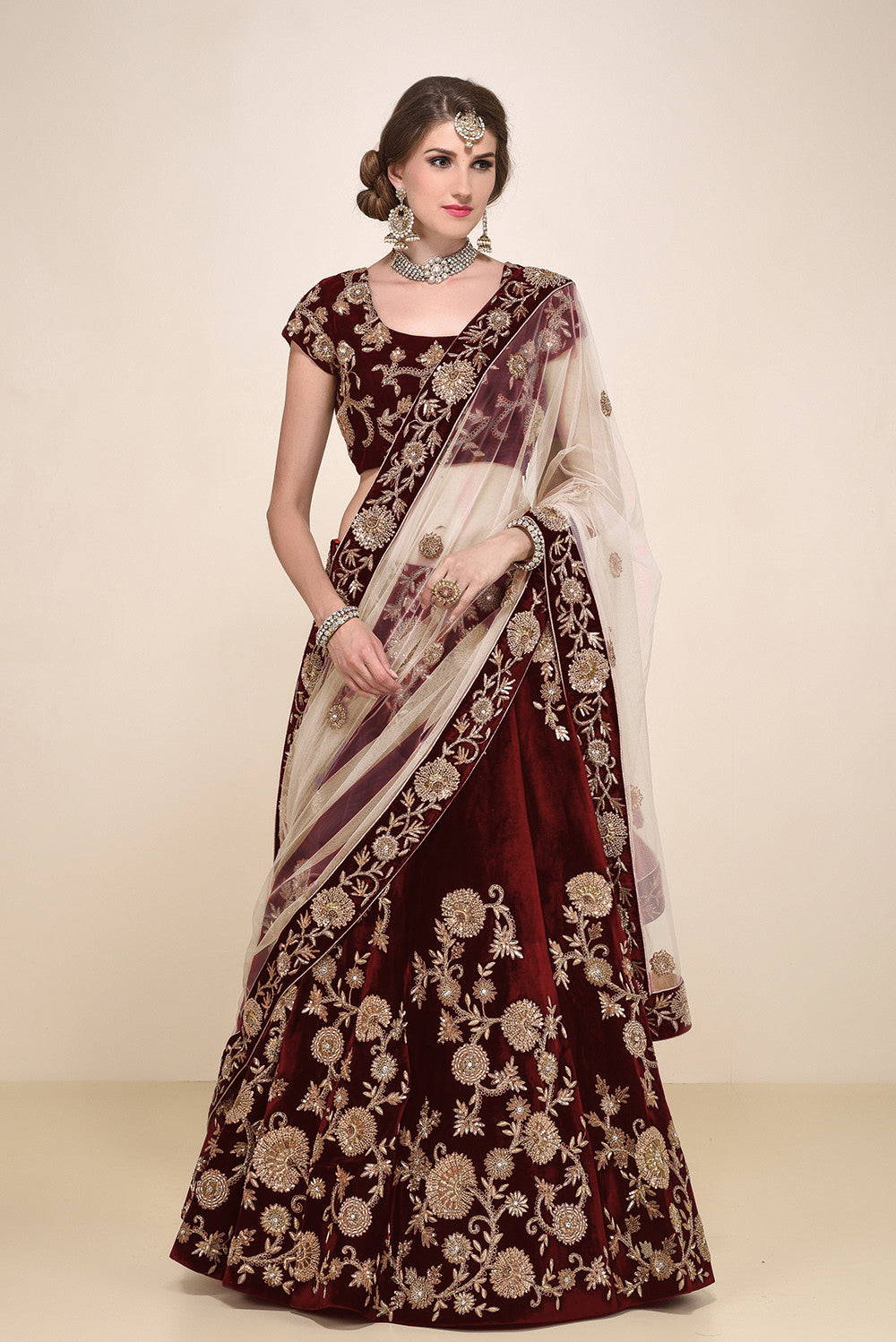 Maroon Micro Velvet Embroidered Lehenga Choli Online Indian Dresses
