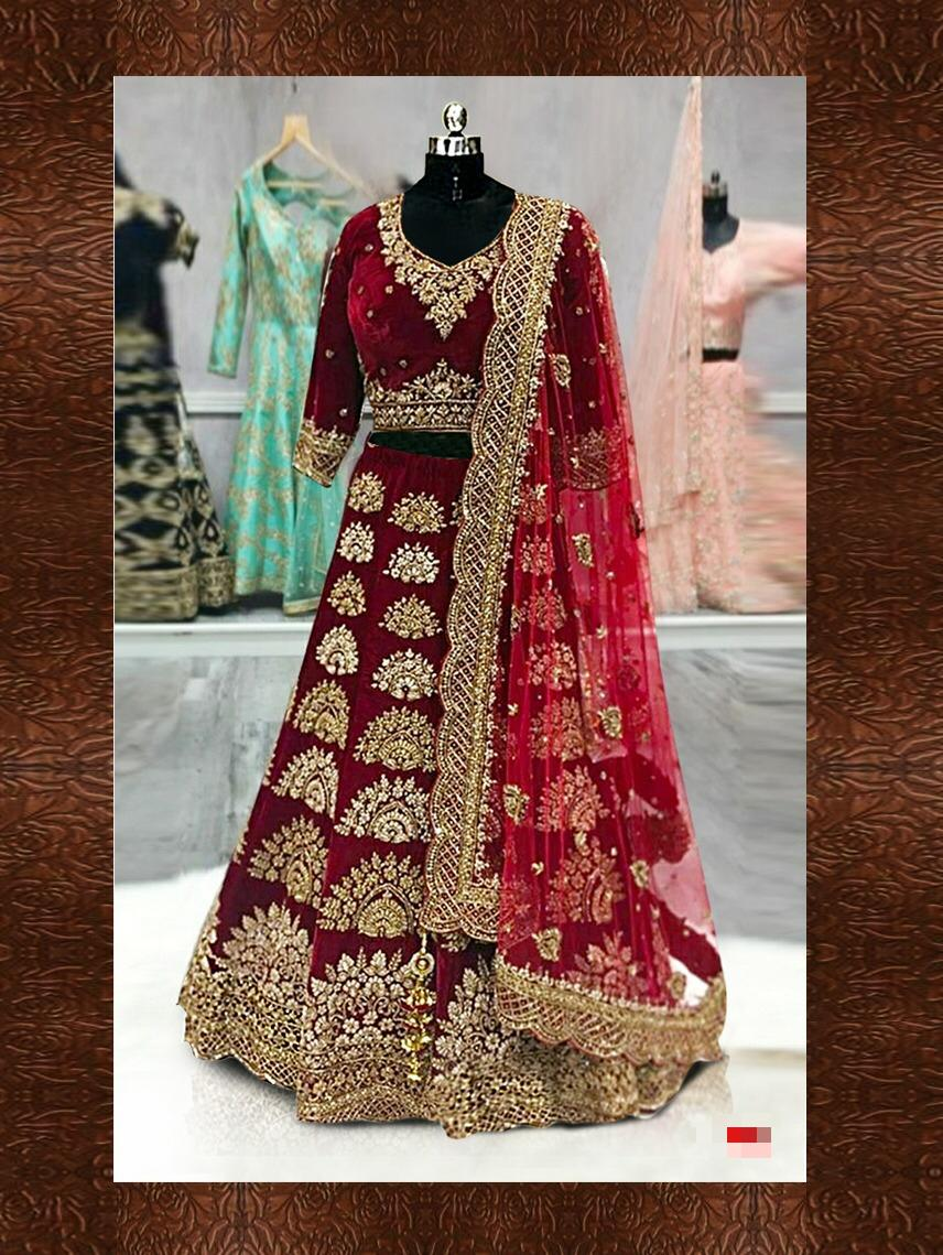 Deep Maroon Embroidered Satin Lehenga Choli Bridal Collection