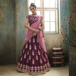 Wine Color Satin Silk  Embroidered Beautiful Lehenga Choli Buy Online