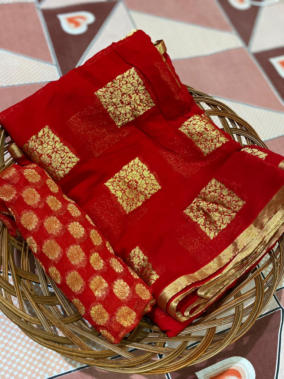 Red Banarasi Georgette Traditional Indian Online Saree Shopping