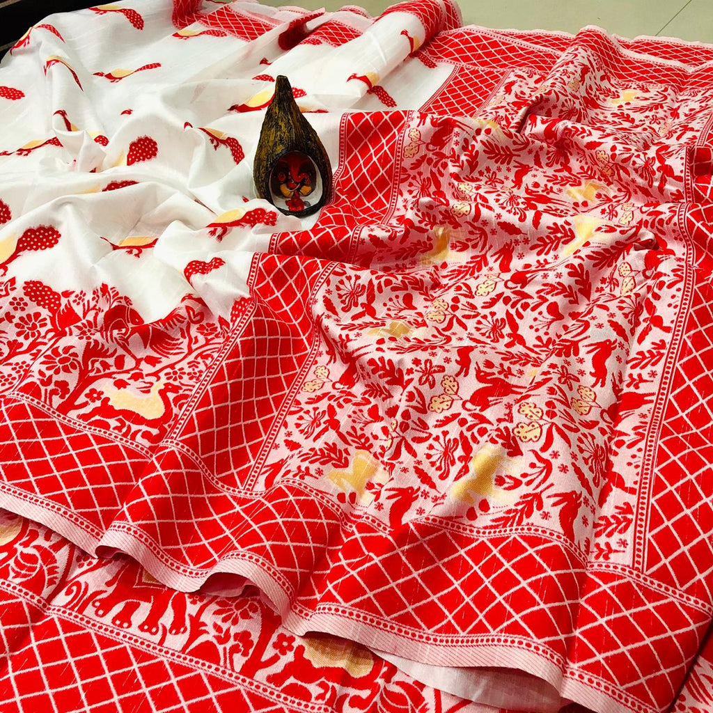 White and Red Soft Raw Silk Ethnic Wear Sarees Online