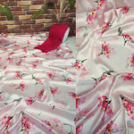 Japan Satin Latest Floral Print Combo Saree Online