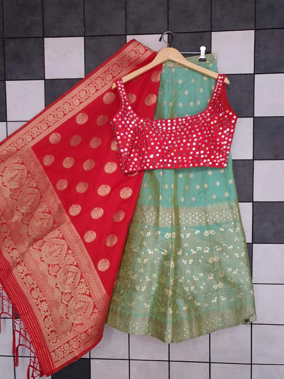 Sage Green Banarasi Lehenga Pair With Matching Mirror Work Blouse