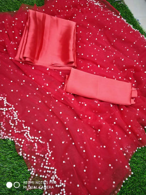 Red Net Sarees With Pearl Latest Indian Ethnic Party Wear Online