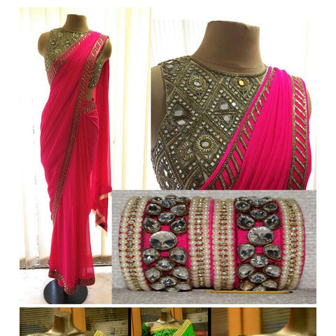 Beautiful Pink Georgette Bollywood Inspired Sarees