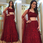 Maroon Georgette Embroidered Beautiful Party Lengha Blouse Online