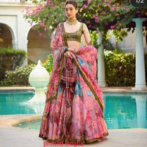 Blue Pink Organza Digital Floral Printed Lehenga Choli Designs