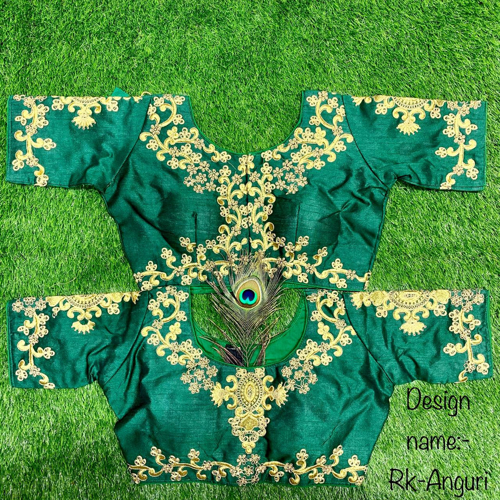 Green Embroidered Silk Short Sleeve Blouse Online Shopping
