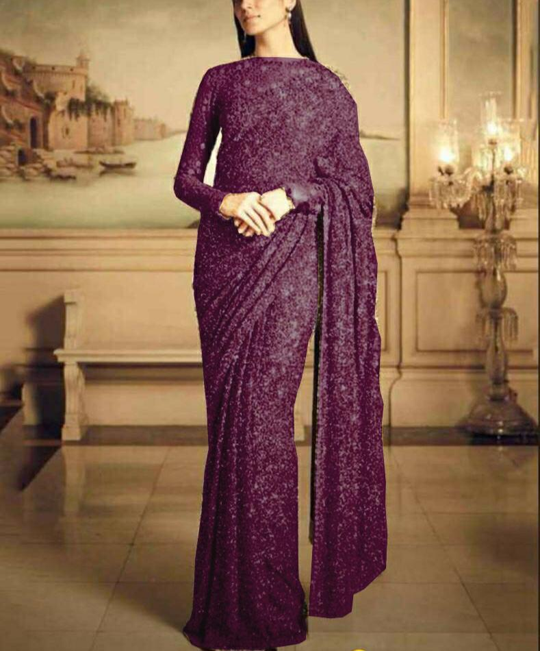 Wine Color Georgette Sequins New Women Saree Online