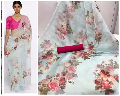 Light Blue Floral Digital Printed Latest Organza Saree and Pink Blouse Set