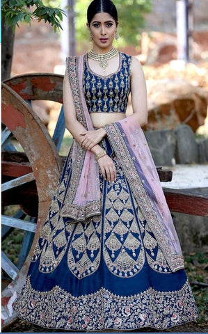 Dark Blue Satin Silk New Party Wear Lehenga Choli Online Shopping
