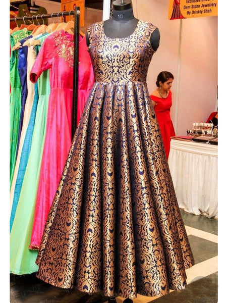 Beautiful Blue Gold Brocade Indo Western Style Gown