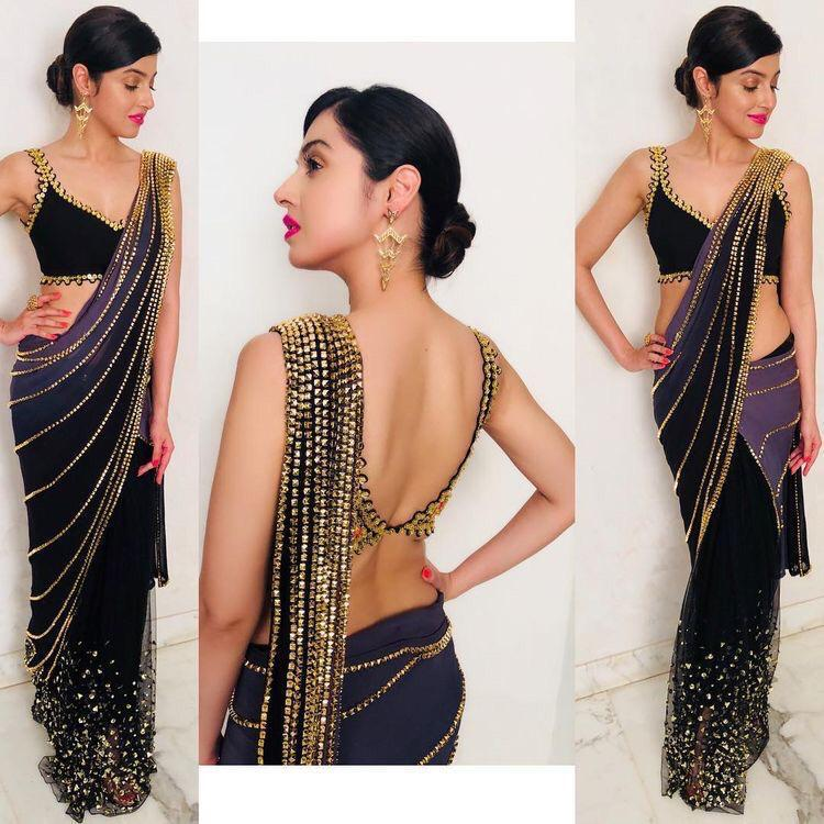 Black And Purple Latest Indian Party Saree Online Shopping