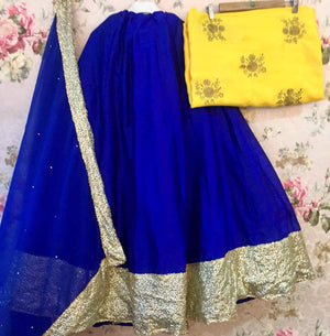 Blue And Yellow Bollywood Lehenga Cholis Online Shopping