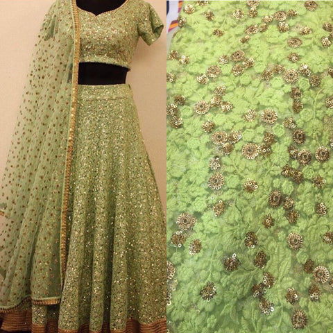 Trendy Pista Green Embroidery Lehenga Wedding Dress ,Indian Dresses