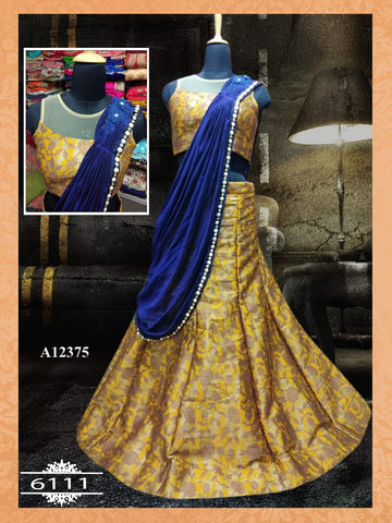 Yellow Silk Indian Dress Beautiful Lehenga Choli Online