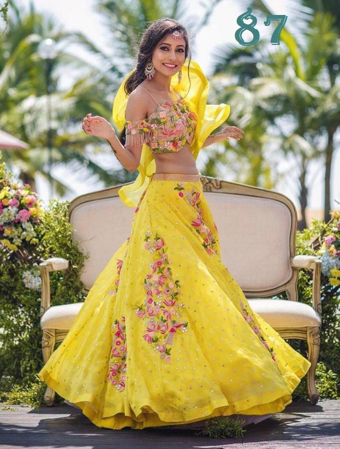 Yellow Georgette Embroidered New Indian Party Lehenga Cholis