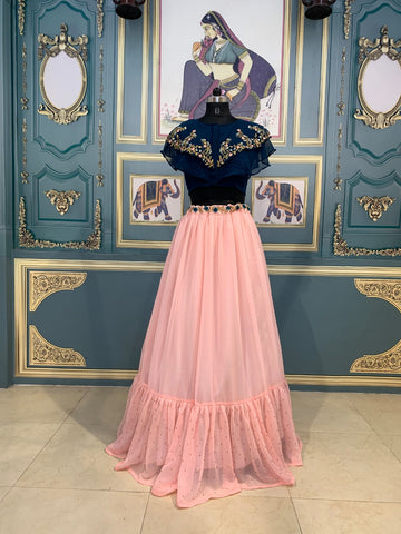 Peach Pink Georgette Party Wear Lehenga Blouse Online Shopping