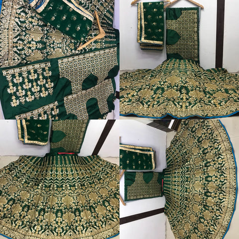 Graceful Deep Green Mulberry Silk Wedding Lehengas With Price