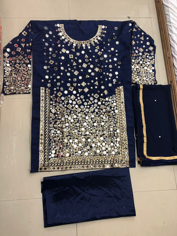 Navy Blue Mirror Work Punjabi Suit Salwar Kameez Designs