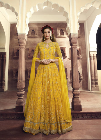 Embroidered Yellow Party Wear Salwar Online Shopping In India