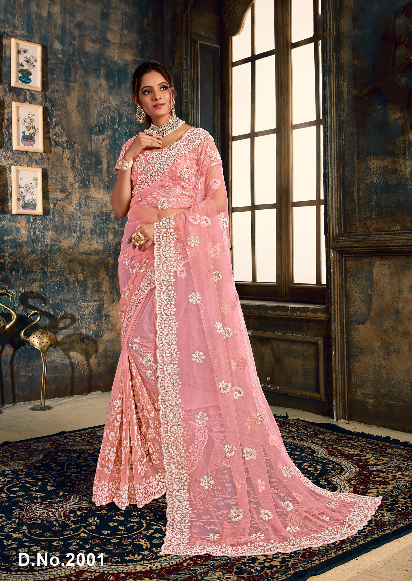 Pink Net Embroidered Beautiful Latest Saree Collection Online