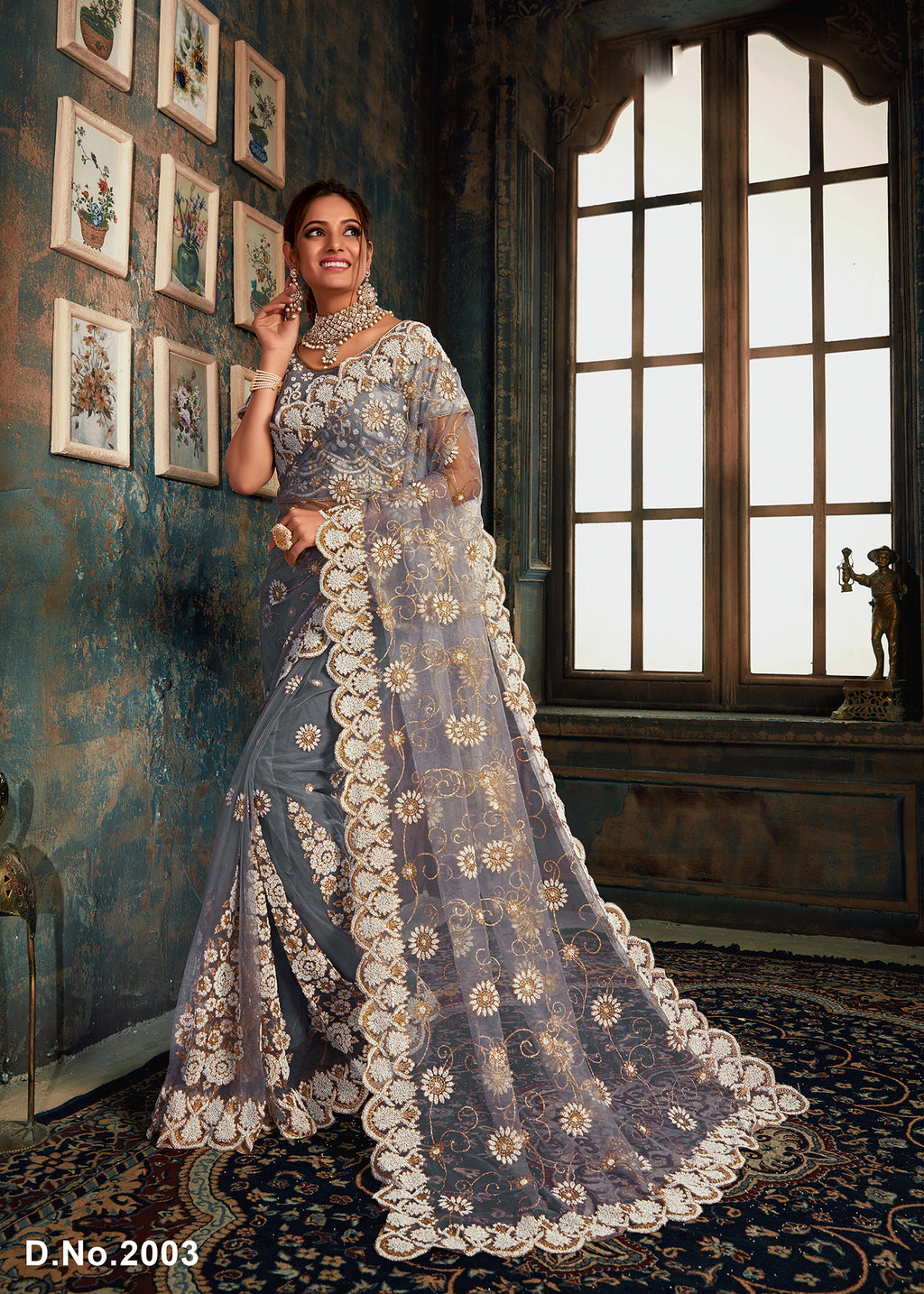 Grey Net Embroidered Best Saree Collection Online Shopping