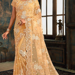 Beige Net Embroidered Latest Fashion Saree Online Shopping