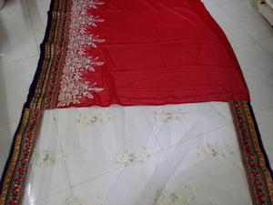 Elegant Red Georgette and Net Bollywood Sarees Online ,Indian Dresses - 2
