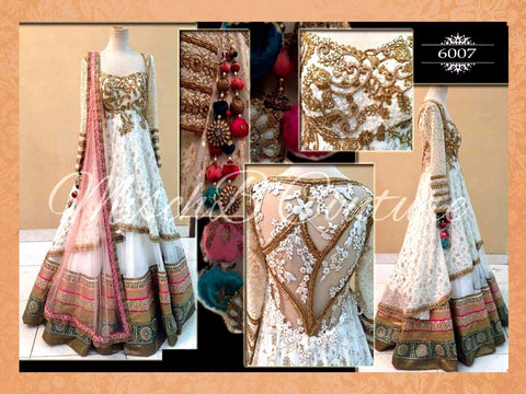Elegant White and Gold Bollywood Lehenga Choli Online ,Indian Dresses - 1