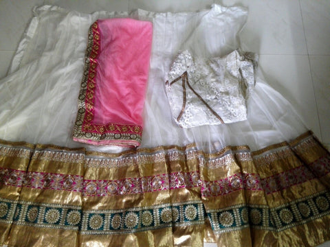 Elegant White and Gold Bollywood Lehenga Choli Online ,Indian Dresses - 2