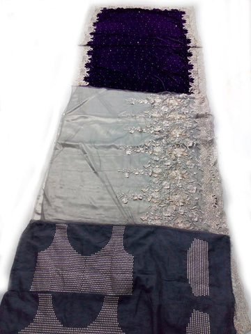 Blue and Grey Velvet Pallu Bollywood Sarees Online ,Indian Dresses - 2